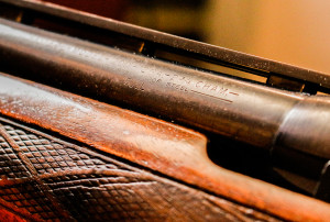 The fixed-choke barrel on this old Winchester shotgun is clearly marked as having a Full constriction.