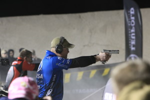 The stages can be arranged in any order. You may start with a shotgun, pistol or rifle at the range director's choosing for the course, but all competitors will compete using the same order of arms.