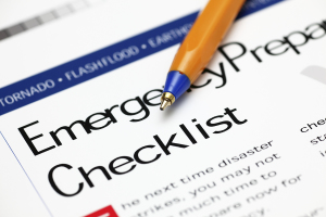 Emergency Checklist and ballpoint pen - Disaster Preparedness Plan